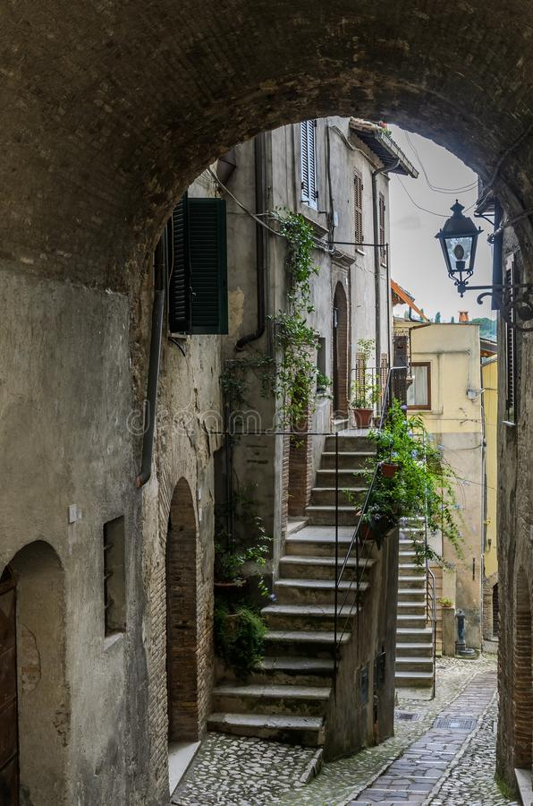 Old antique traditional street in a small European town.  stock image