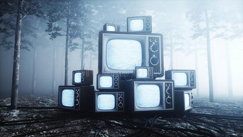Old antique TV in fog night forest. Fear and horror. Mistic concept. Broadcast. 3d rendering. royalty free illustration