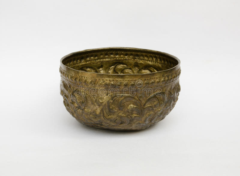 Old antique vintage brass bowl royalty free stock photography