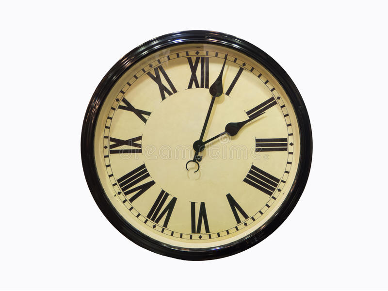 Old antique wall clock isolated on white Old antique wall clock. Isolated on white background royalty free stock photos
