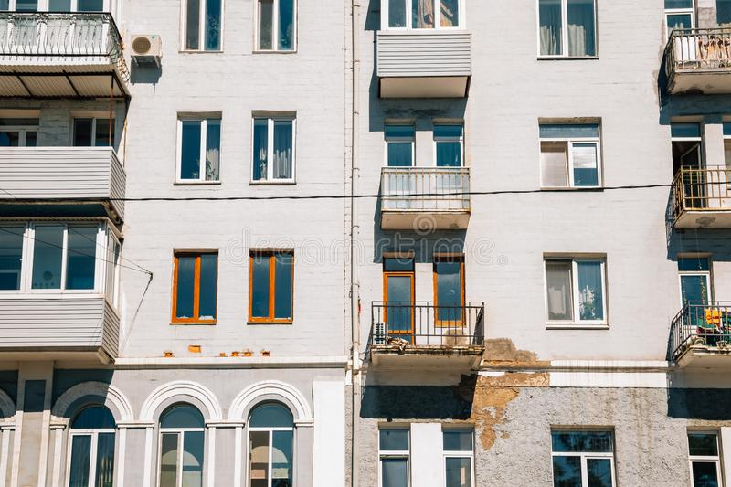 Old apartment building facade in Russia stock photography