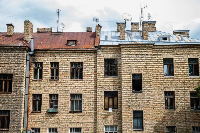 Old apartment building in Vilnius, Lithuania. Europe royalty free stock photos