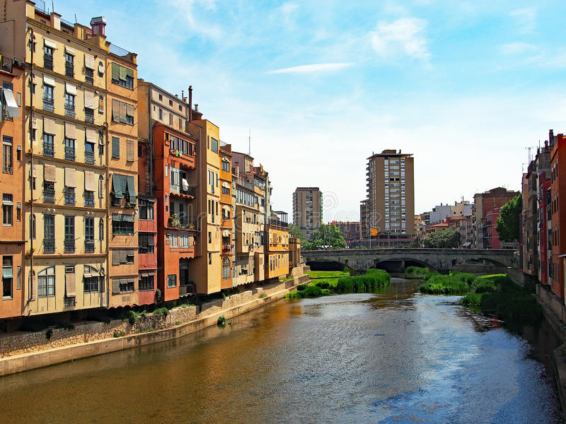 Old Apartment Buildings on Onya River, Girona, Spain stock photo