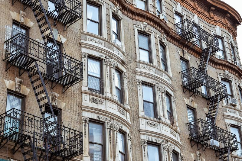 Old apartment facades, with fire stairs. Soho, Manhattan. NYC. USA stock photos