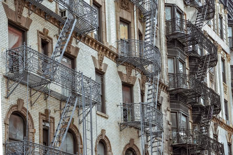 Old apartment facades, with fire stairs. Soho, Manhattan. NYC. USA stock images