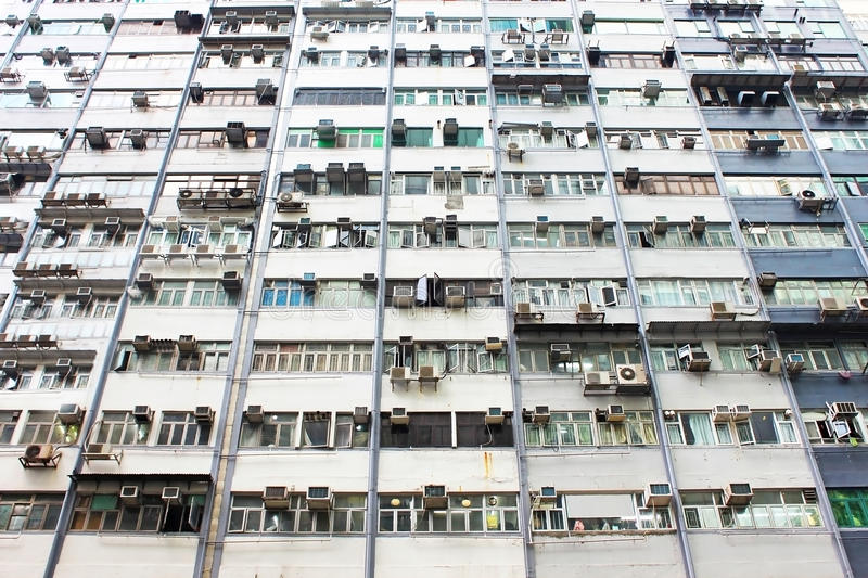 Old apartments in Hong Kong stock image