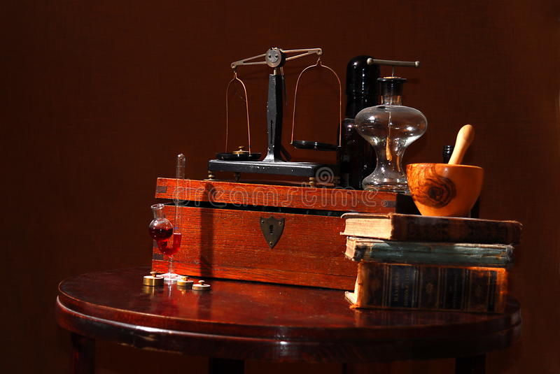 Old apothecary tools stock photo