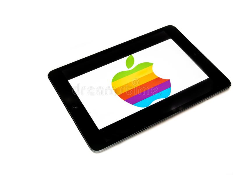 Old Apple logo on ipad screen royalty free stock photos