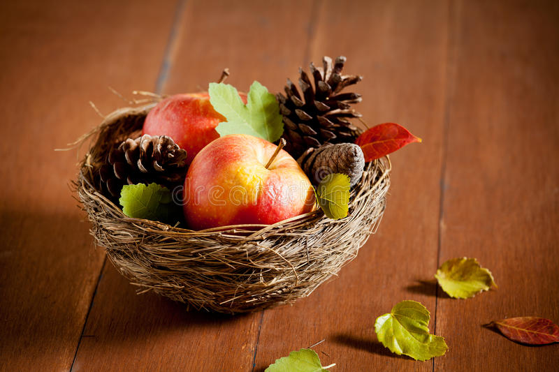 Old Apples In A Basket Royalty Free Stock Images