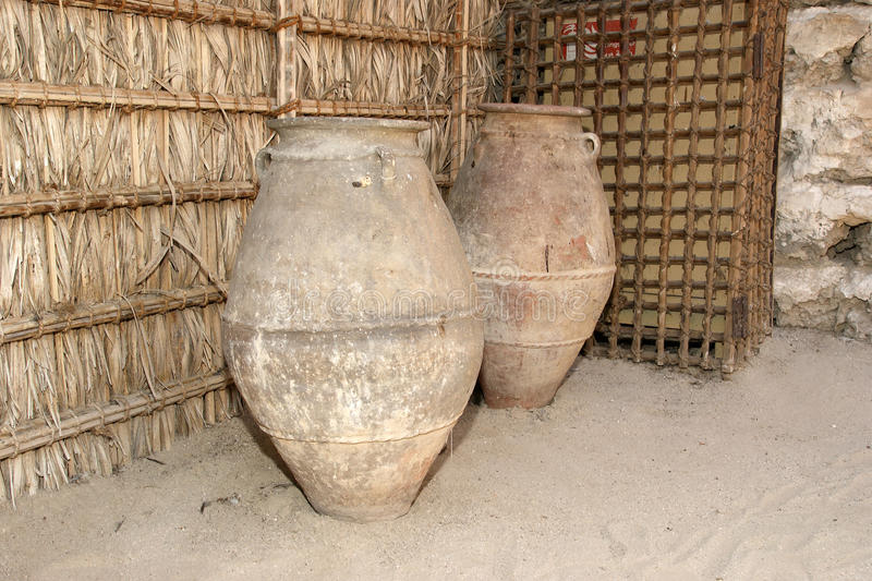 Old Arabic pitchers, Dubai museum, United Arab Emirates,UAE.  royalty free stock images