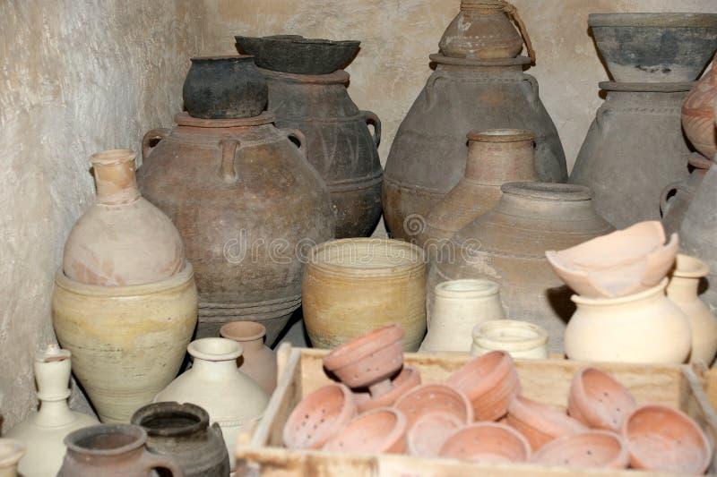Old Arabic pitchers, Dubai museum, United Arab Emirates,UAE.  royalty free stock photography