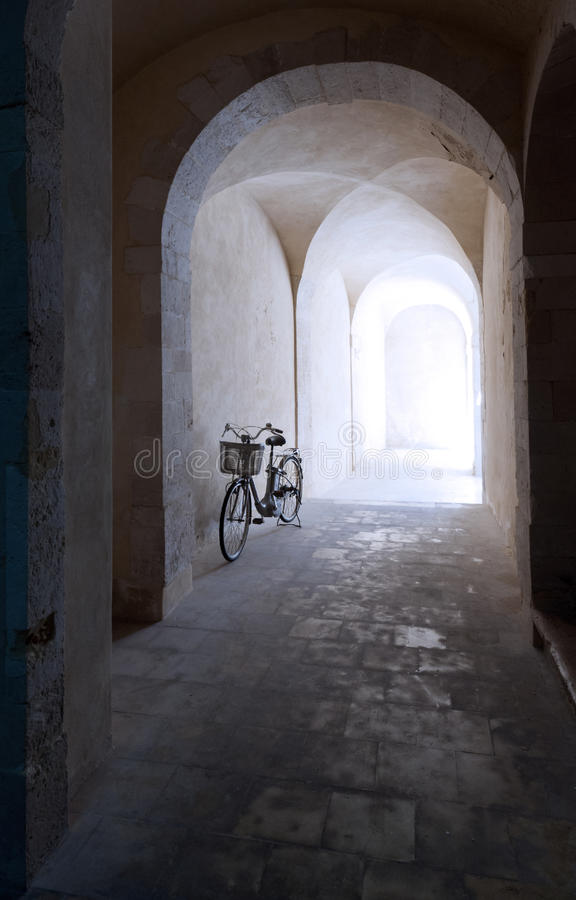 Download Old arcade and bicycle stock photo. Image of construction - 24787436