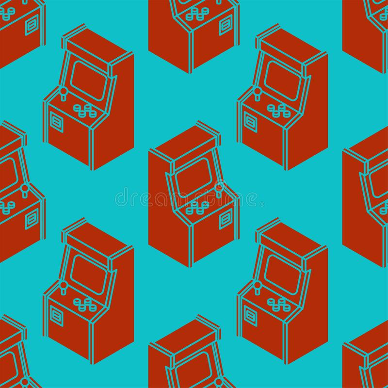 Old Arcade Machine Gaming pattern seamless. Retro Video Game play background vector illustration