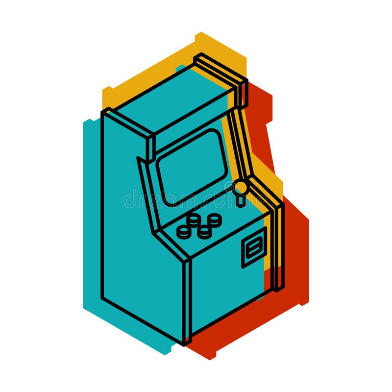 Old Arcade Machine Gaming. Retro Video Game play vector illustration