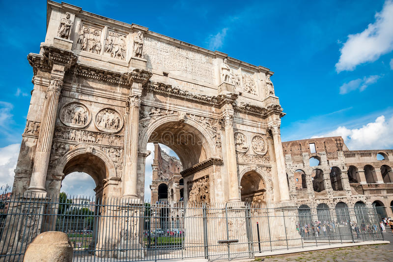 The old Arch of Constantine in Rome royalty free stock image