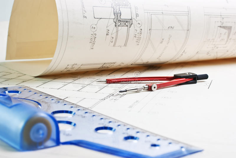 Old architectural drawing stock images