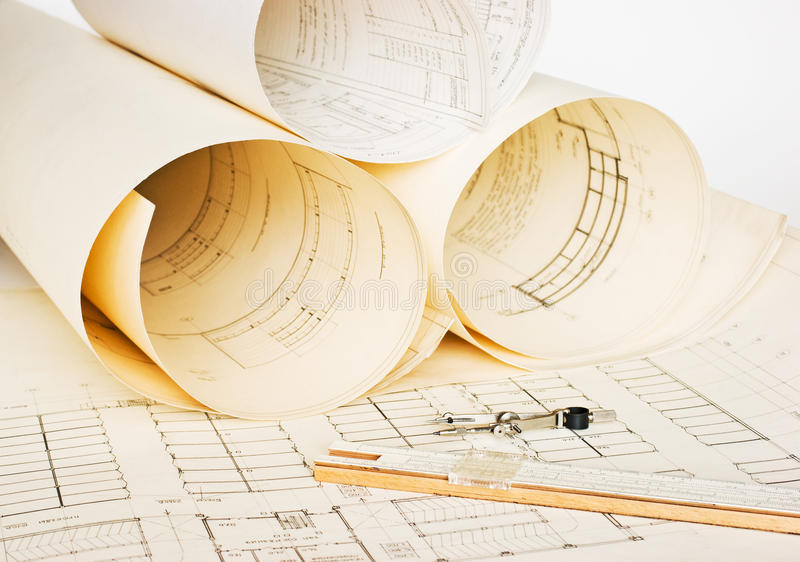 Old architectural drawing royalty free stock image