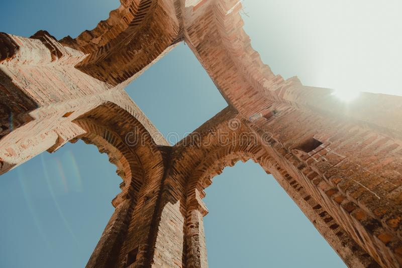 Old architecture building seen from below. In Badajoz, Extremadura spain royalty free stock photography