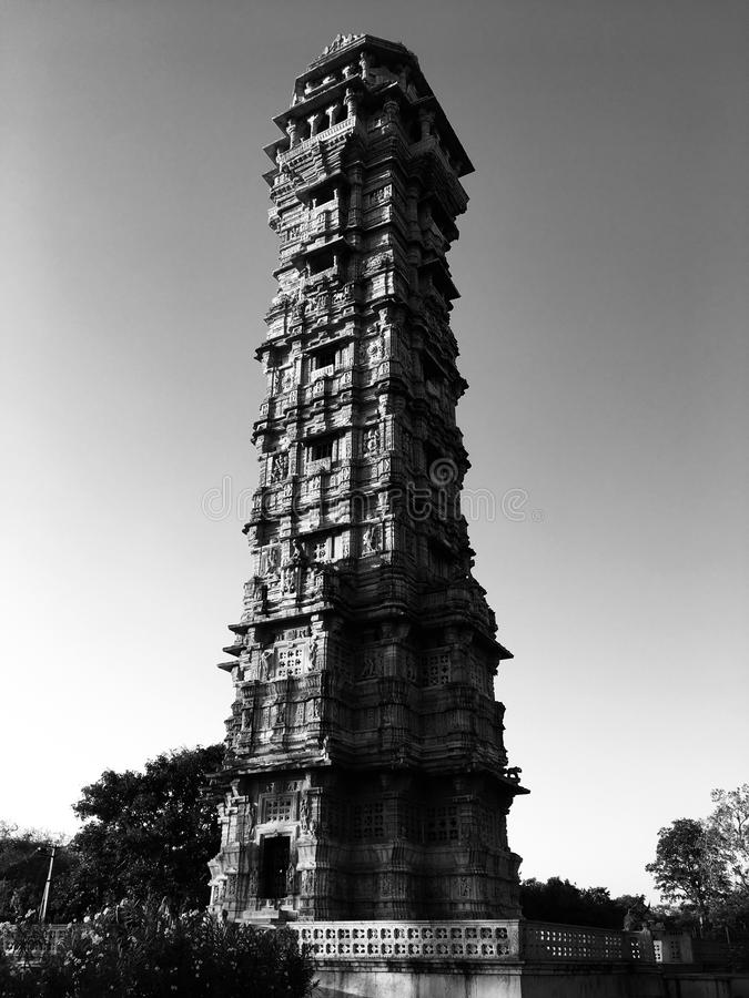 Old architecture chittorgarh tower stock images