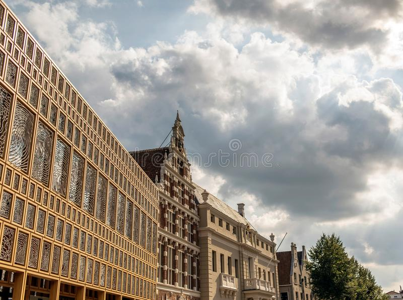 Old architecture in dutch city Deventer under cloudy sky. stock photo