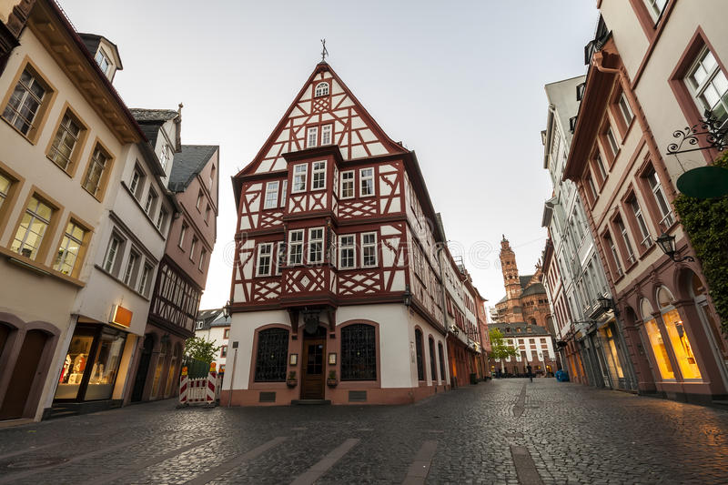 Old architecture houses in the center of Mainz city near Frankfurt am Main, Germany stock images