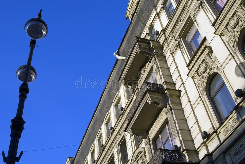 Old architecture of the Nevsky prospect in Saint-Petersburg, Russia. Old architecture of the Nevsky prospect, popular touristic street in historical city center stock photos