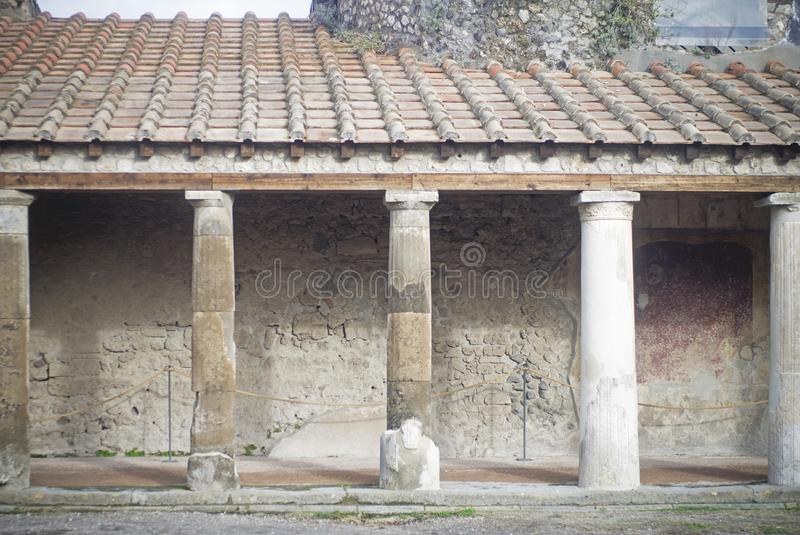 Columns in pompei, Italy. Old architecture in Pompei, Italy stock photography