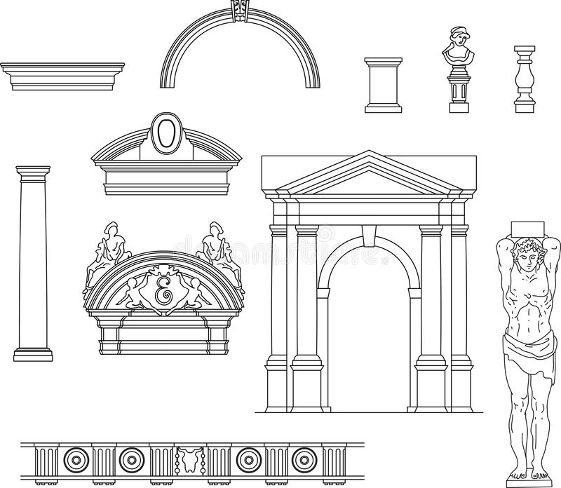 Download Old architecture set stock vector. Image of roman, renaissance - 25110453