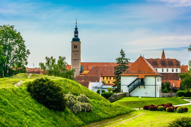 Old architecture in Varazdin, baroque town. Scenic view at picturesque old town Varazdin in Croatia, popular historical tourist resort stock images
