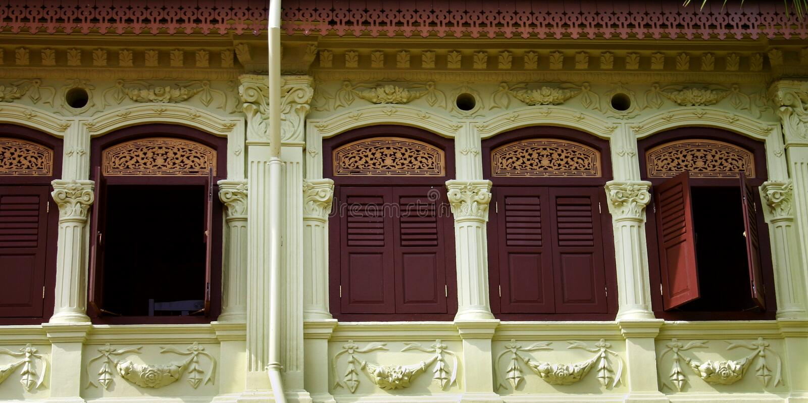 Old Architectures - Rustic Asian Shophouses Royalty Free Stock Photos