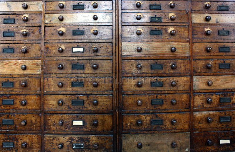 Old archive drawers cabinet royalty free stock images