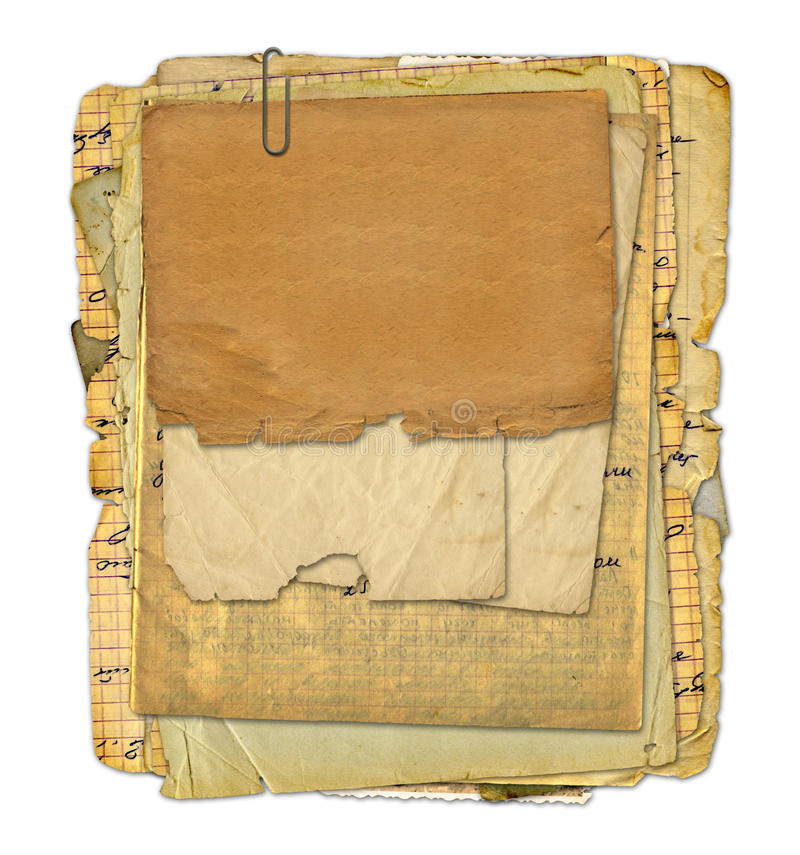 Old archive with letters, photos vector illustration