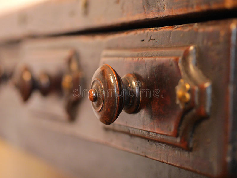 Old archive wooden drawers. stock image