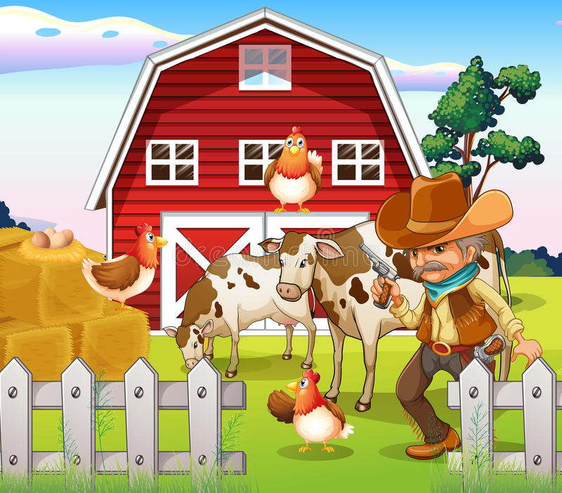 Download An Old Armed Cowboy At The Farm With A Red Barnhouse Stock Vector - Illustration: 32330664