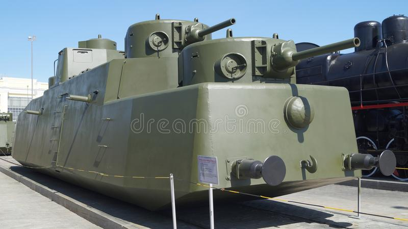 Old armored train in the museum of military equipment. royalty free stock images