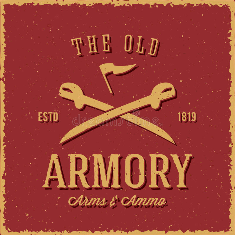 Free Old Armory Arms And Ammo Abstract Vintage Label Stock Image - 54356321