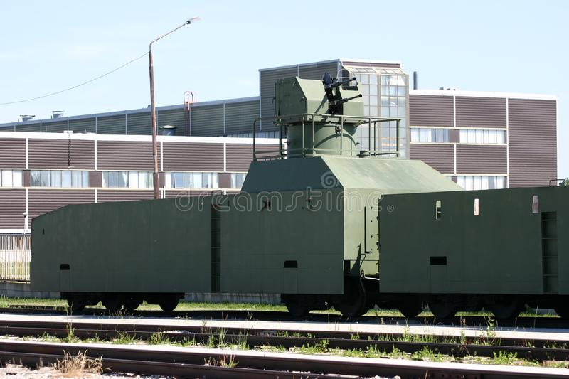 Old armoured train. Armoured train shot in the museum of technical history stock image