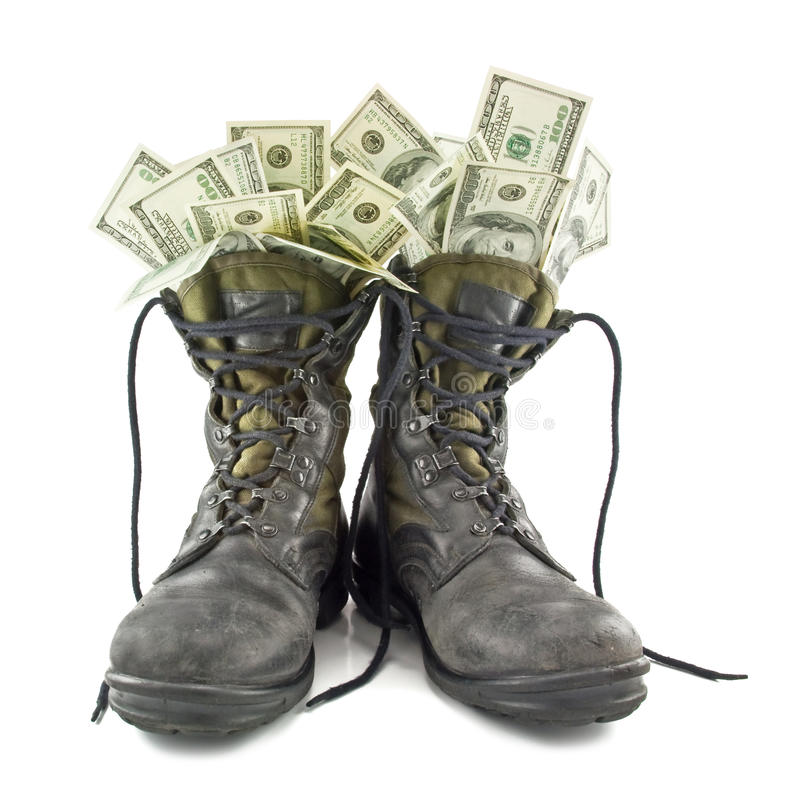 Old army boots royalty free stock photos