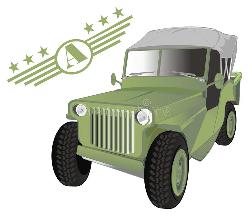 Army car and symbol royalty free illustration