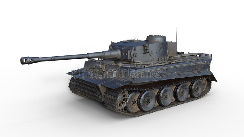 Old army tank, vintage armored military vehicle with gun and turret  on white background, 3D render royalty free stock photos