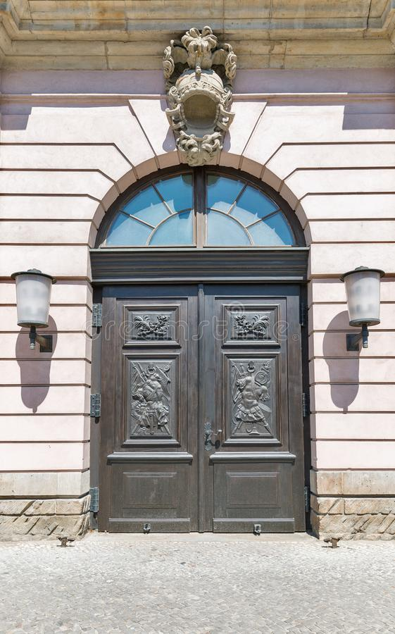 Old Arsenal wooden door in Berlin, Germany royalty free stock photography