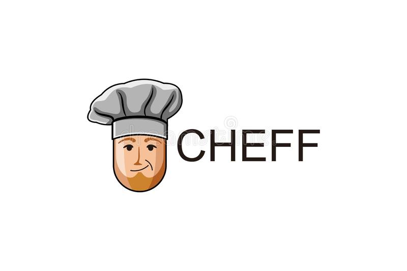 old asian chef logo Designs Inspiration Isolated on White Background. royalty free illustration