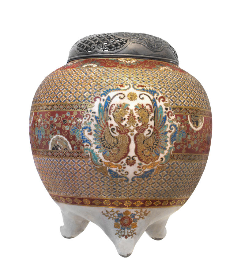 Free Old Asian Cloisonné Decorated Jar. Stock Photography - 27936862