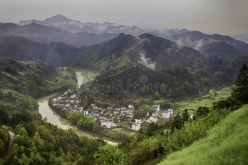 Village in a river valley stock photos
