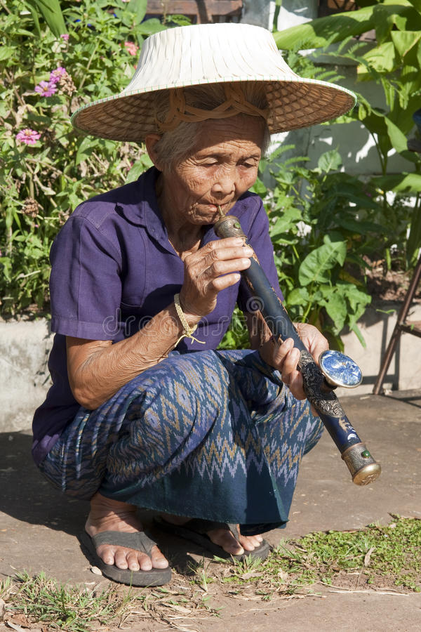 Download Old Asian Woman With Opium Pipe Stock Photo - Image: 10649546