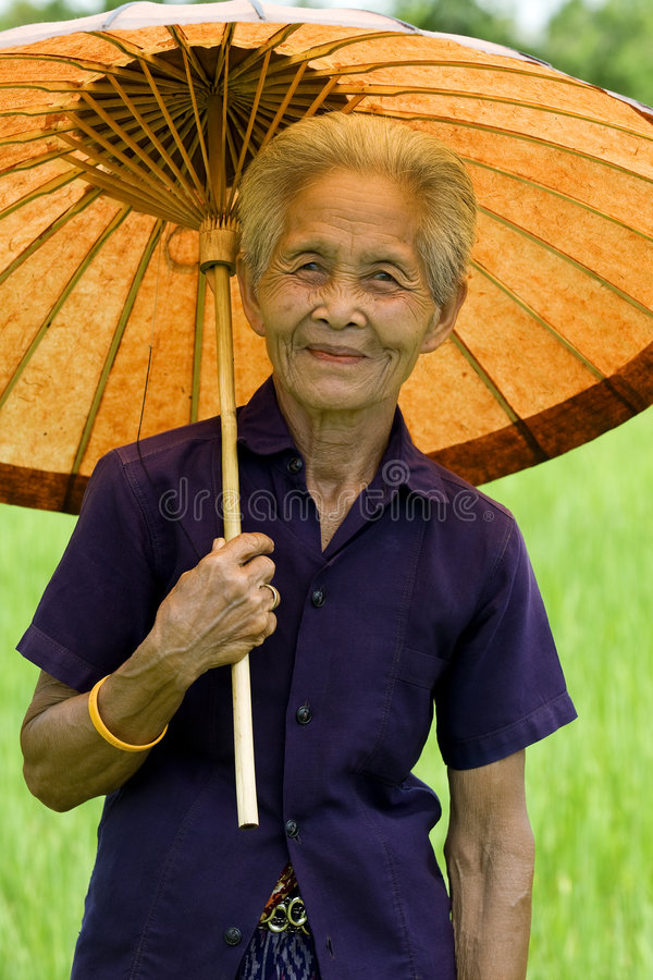 Free Old Asian Woman With Parasol Royalty Free Stock Images - 6572799