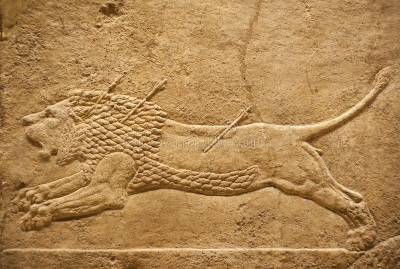 Old Assyrian Relief Of A Lion Beig Hunted Stock Photos