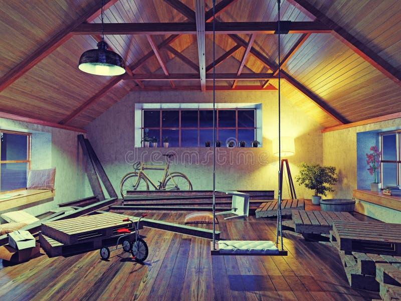 Old attic interior vector illustration