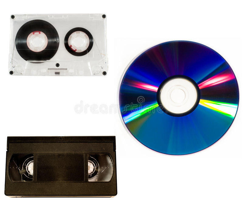 Old audio and video tapes and compact disc stock photos