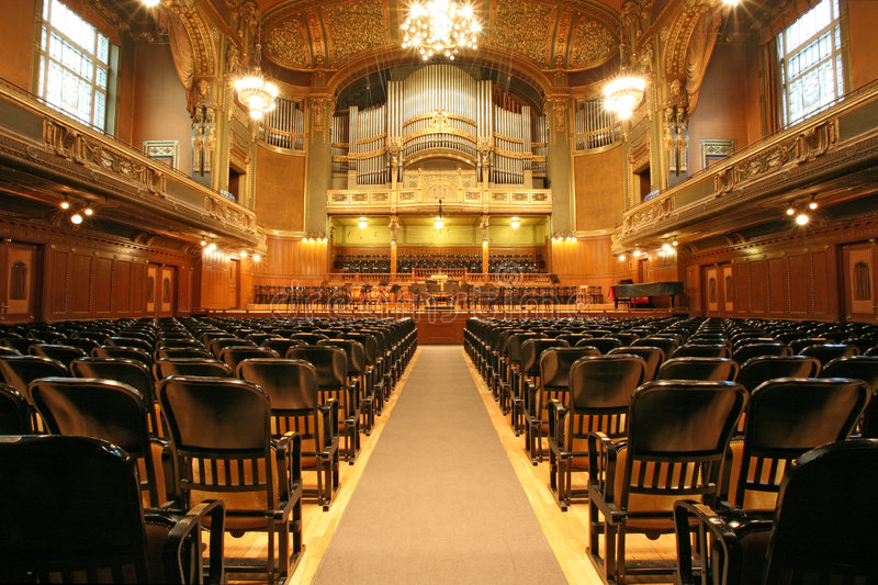 Old auditorium with organ royalty free stock photography